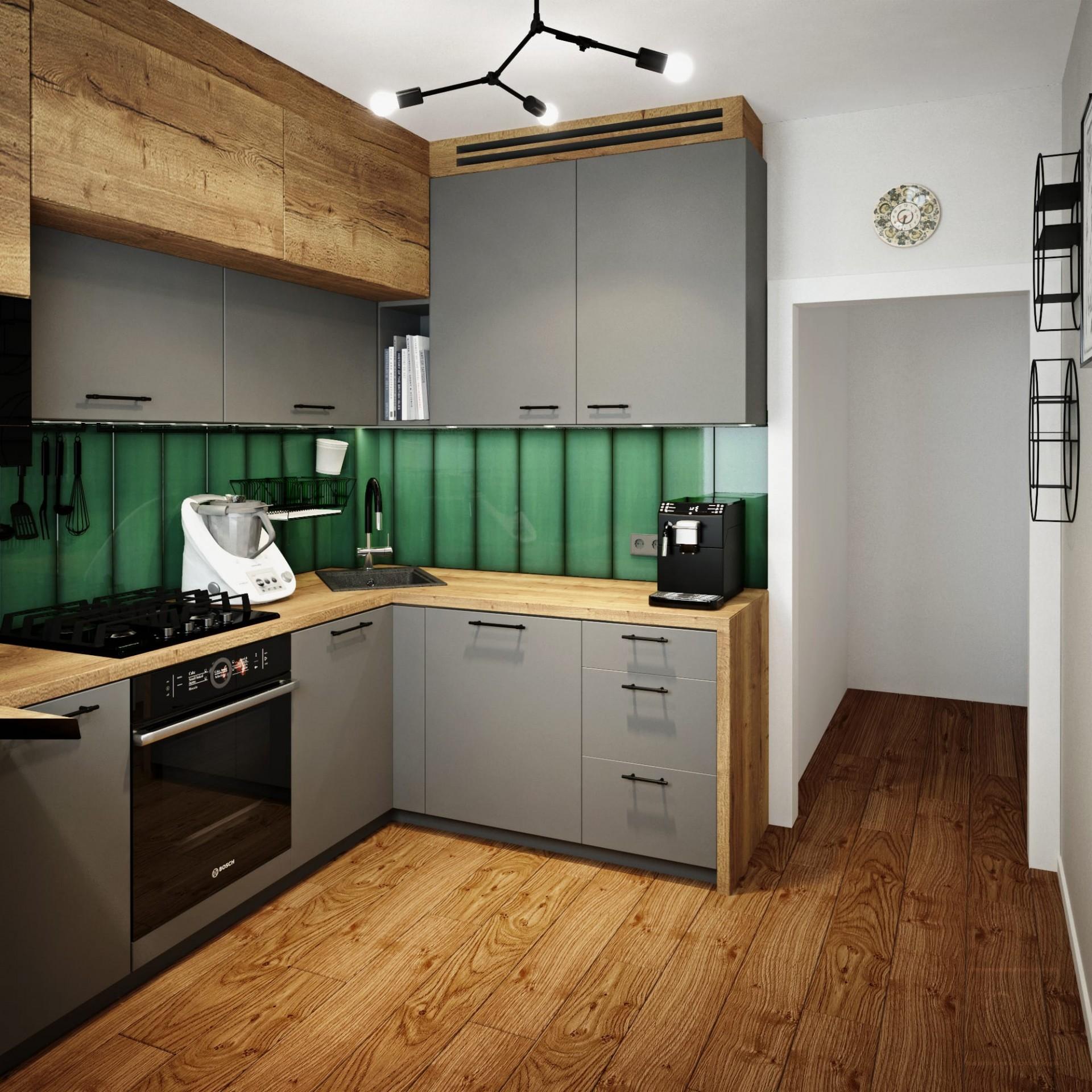 Kuchnia szara z zielonymi płytkami